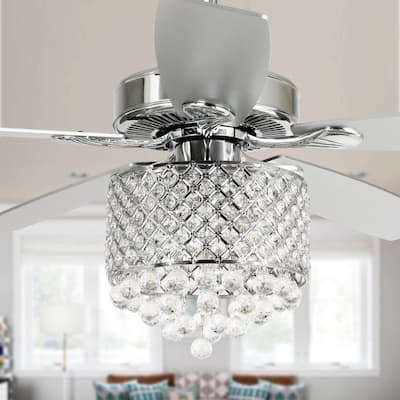 52-inch Chrome 5-Blades Crystal Chandelier Ceiling Fan with Remote - 52-in