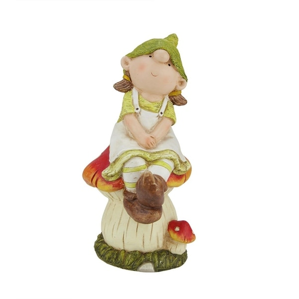 "11"" Young Girl Gnome Sitting on a Mushroom Spring Outdoor Garden Patio Figure"