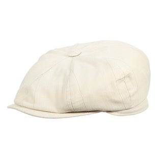 Stetson Men's Cotton Herringbone Windowpane Newsboy Cap - Oat