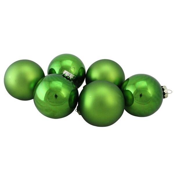 "6-Piece Shiny and Matte Kiwi Green Glass Ball Christmas Ornament Set 3.25"" (80mm)"