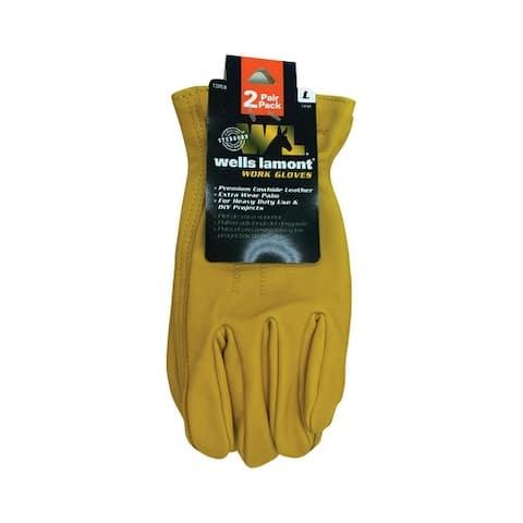 Wells Lamont 1209LN Universal Large Leather Work Gloves, Yellow