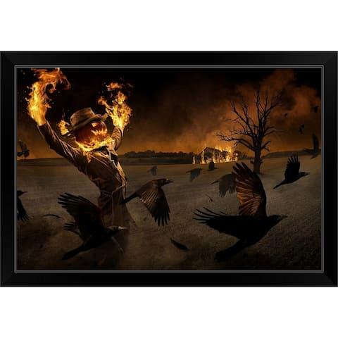 """""""Jack O' Scarecrow"""" Black Framed Print"""