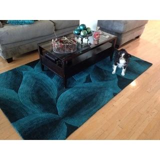 nuLOOM Handmade Leaves Turquoise Wool Rug