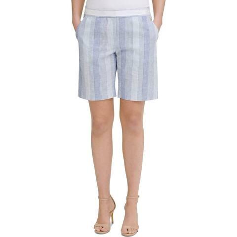 Tommy Hilfiger Womens Shorts Blue Size 14 Striped Slim-Leg Flat-Front