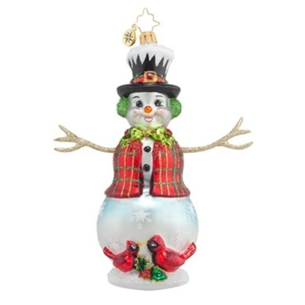 Christopher Radko Glass Cardinal Appeal Snowman Christmas Ornament #1017783 - WHITE