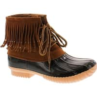 Nature Breeze Duck-03 Women's Lovely Studded Fringe Lace Up Dress Duck Boots - Tan