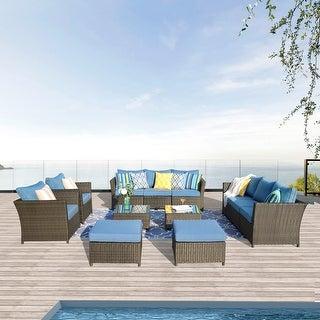 Havenside Home Kegashka 12-piece Brown Wicker Patio Sectional Set