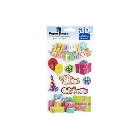Stdm-0180e paper house sticker 3d happy birthday