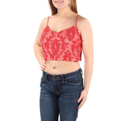 ADRIANNA PAPELL Womens Red Spaghetti Strap Crop Evening Top Size 10P