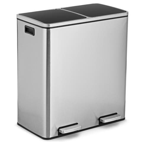 Gymax 16 Gallon Dual Step Trash Can Recycling Stainless Steel Double