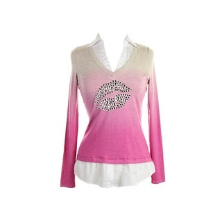 Inc International Concepts Pink Layered Look Rhinestone Sweater M