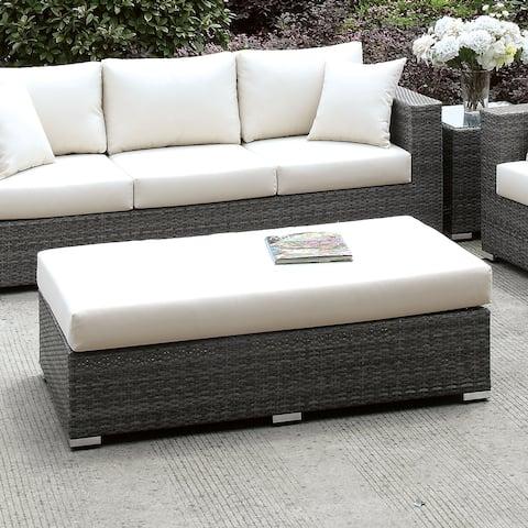 Furniture of America Pyle Contemporary Gray Wicker Patio Bench