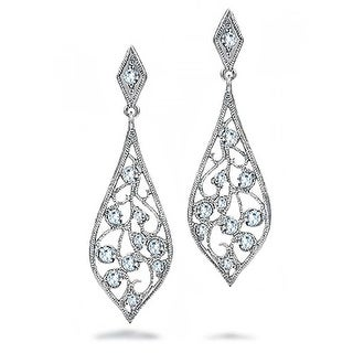 Teardrop Dangle CZ Filigree Dangle Earrings Prom 925 Sterling Silver