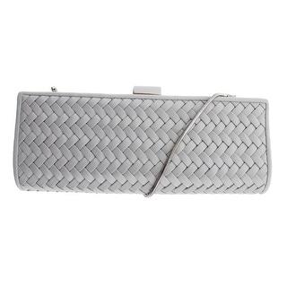 La Regale Womens Sateen Woven Evening Handbag - Silver - Small