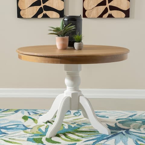 Josie Two-tone Round Solid Wood Pedestal Table