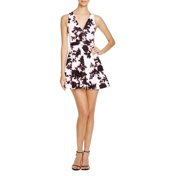 Aqua Womens Party Dress Matte Jersey Floral Print