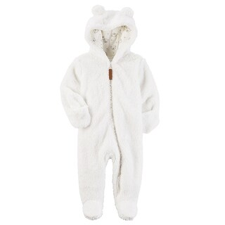 Carter's Baby Newborn-9M Hooded Sherpa Pram Sleep & Play, 3 Months