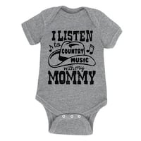 I Listen To Country Music With My Mommy Musical Notes Western Cute Baby Bodysuit