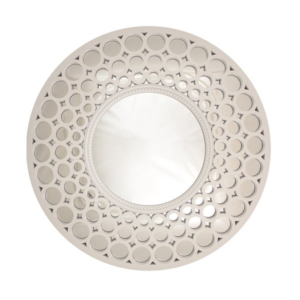 Glamorous cascading orbs white framed round wall for White round wall mirror