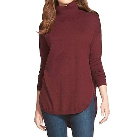 Chelsea28 Wine Red Womens Size Large L Turtleneck Hi-Low Sweater