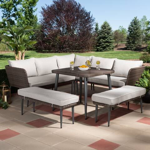 Lillian Modern and Contemporary Light Grey Upholstered and Brown Finished 5-Piece Woven Rattan Outdoor Patio Set