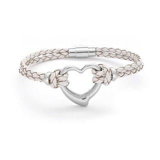 Bling Jewelry Stainless Steel Heart White Leather Bracelet Braided Cord