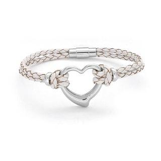 Heart Woven Weave Braided Cord Multi Strand Leather Bracelet Steel
