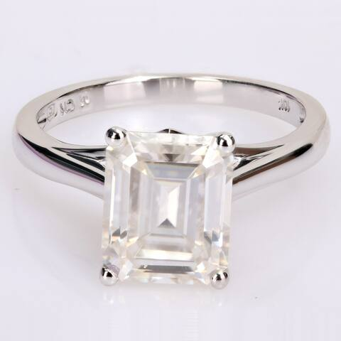 Miadora 3 1/2ct DEW Octagon-cut Moissanite Classic Solitaire Engagement Ring in 10k White Gold