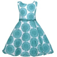 Sweet Kids Teal Embroider Lace Flower Easter Dress Girl 4-12