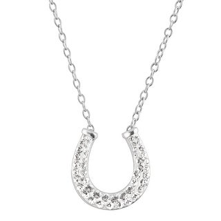 Crystaluxe Horseshoe Necklace with Swarovski Crystals in Sterling Silver - White