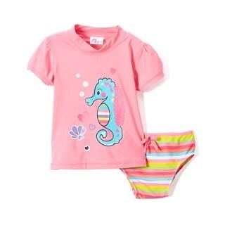 Sweet & Soft Toddler Girls Colorful Seahorse Rashguard 2Pc Bikini Swim Set