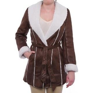 Kenneth Cole NY  Faux-Shearlig Wrap Coat Basic Coat Brown