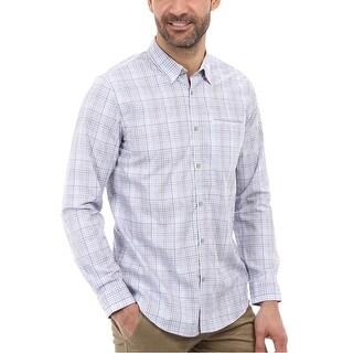 Calvin Klein Exploded Ombre Plaid Button-Down Shirt Small S Pale Indigo