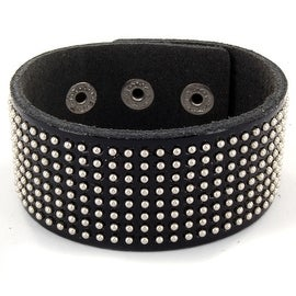 Glossy Black Leather Bracelet with Multi Round Studs (31 mm) - 7.5 in