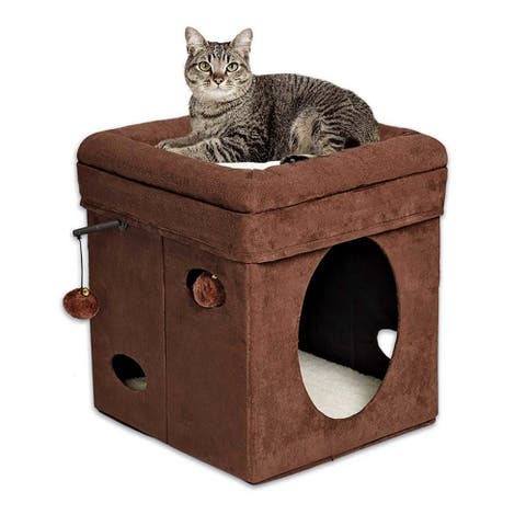 "Midwest Curious Cat Cube Brown 15.125"" x 15.125"" x 16.5"" - 15.125"" x 15.125"" x 16.5"""