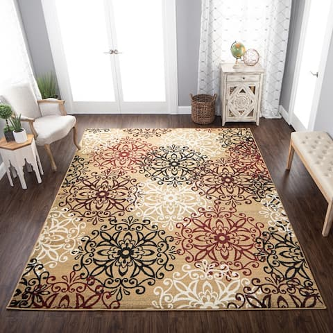 Superior Leigh Modern Floral Medallion Indoor Area Rug Collection