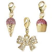 Julieta Jewelry Crown CZ, Ice Cream, Cupcake 14k Gold Over Sterling Silver Clip-On Charm Set
