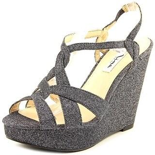 Nina Giada Women Open Toe Canvas Silver Wedge Sandal