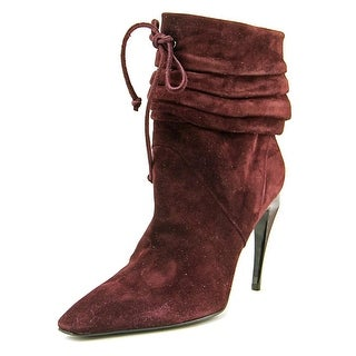 Roger Vivier Coulisse Pointed Toe Suede Mid Calf Boot