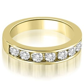 0.96 cttw. 14K Yellow Gold Classic Channel Set Round Cut Diamond Wedding Ring