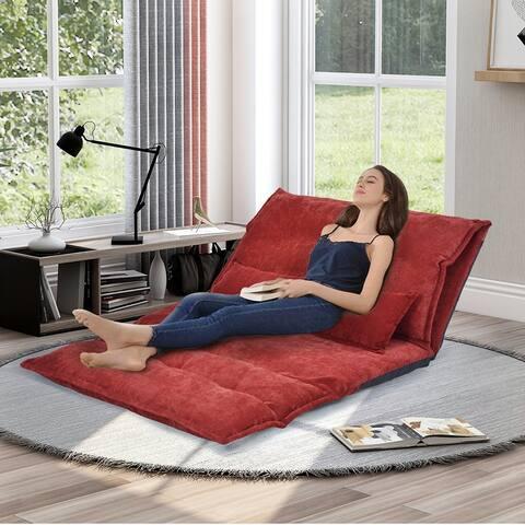 Adjustable Folding Futon Sofa Leisure Sofa Bed with Two Pillows