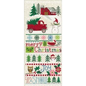 """Merry Christmas Sampler (14 Count) - Imaginating Counted Cross Stitch Kit 5.5""""X13"""""""