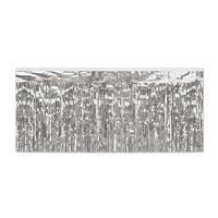 Pack of 6 Silver 2-Ply Hanging Metallic Fringe Drape Decorations 10'