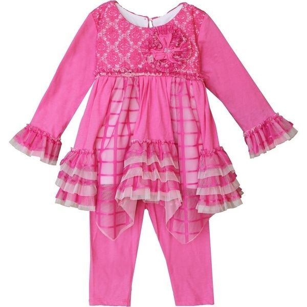 Isobella & Chloe Baby Girls Pink Mesh Flower Olivia 2 Pc Pant Set 6-24M