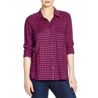 Paige Womens Trudy Button-Down Top Flannel Plaid