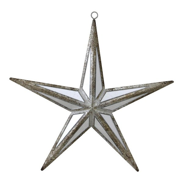 "7.5"" Winter's Beauty Mirrored Five Point Star Christmas Ornament"