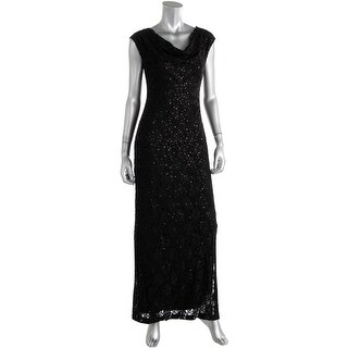 Connected Apparel Womens Petites Lace Embellished Evening Dress - 12P