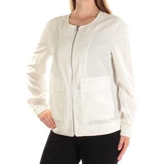 ANNE KLEIN $129 Womens New 1063 Ivory Zip Up Casual Jacket M B+B