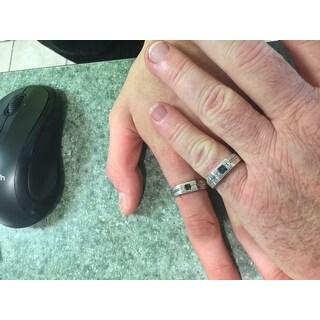 Miadora Men's Sterling Silver Sapphire and White Diamond Accent Ring