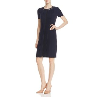 Elie Tahari Womens Marion Wear to Work Dress Pleated Short Sleeves